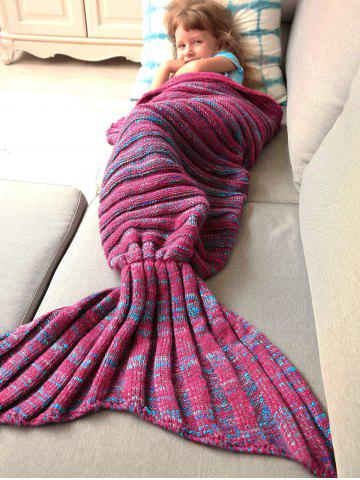 Best Thicken Soft Knitted Sleeping Bag Kids Wrap Mermaid Blanket - M BLUE AND RED Mobile