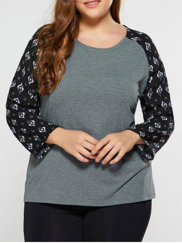 Discount Plus Size Rhombus Print Sleeve Tee GRAY 5XL