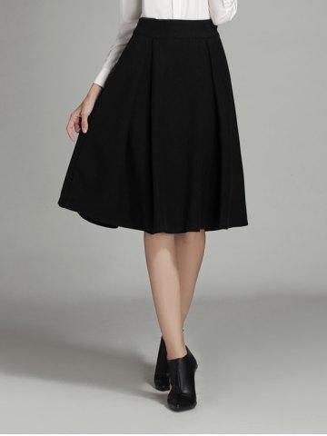 Black Wool A Line Skirt 65