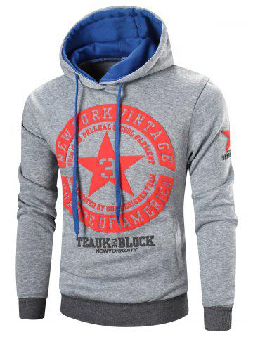 New Star Printed Color Block Pullover Hoodie LIGHT GRAY XL