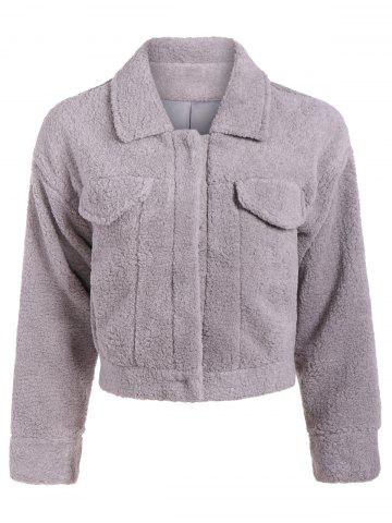Fashion Fuzzy Shirt Jacket GRAY ONE SIZE