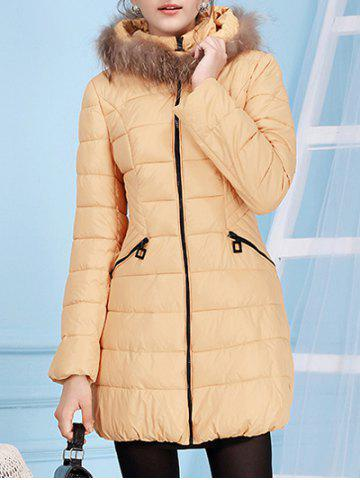 Fur Hooded Collar Down Jacket - Apricot - S