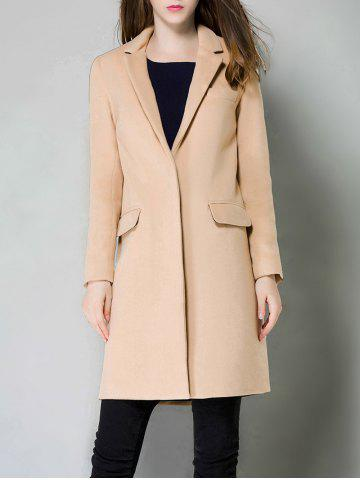 Single Breasted Lapel Cashmere Coat - Camel - S
