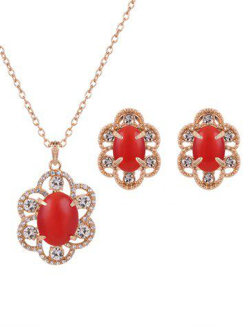 Buy Floral Rhinestone Faux Opal Jewelry Set