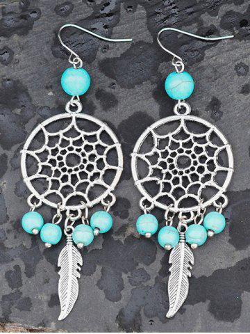 Hot Faux Turquoise Hollow Out Feather Earrings