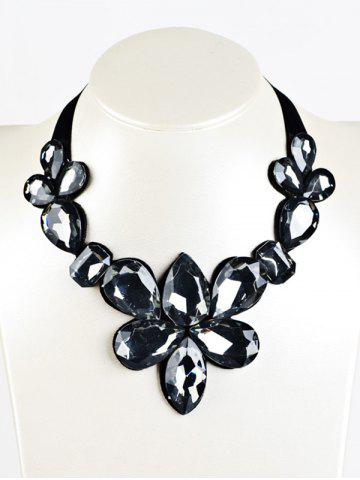 Trendy Water Drop Fake Crystal Ribbon Necklace
