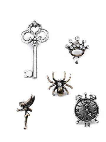 Chic Key Crown Clock Spider Elf Brooch Set - SILVER  Mobile