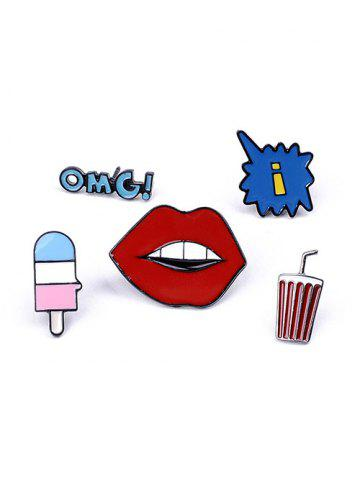 Outfits Lip Letters Beverage Brooch Set RED
