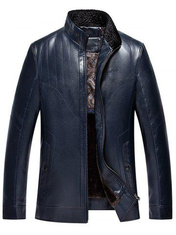 Stand Collar Zip Up PU Leather Thermal Jacket
