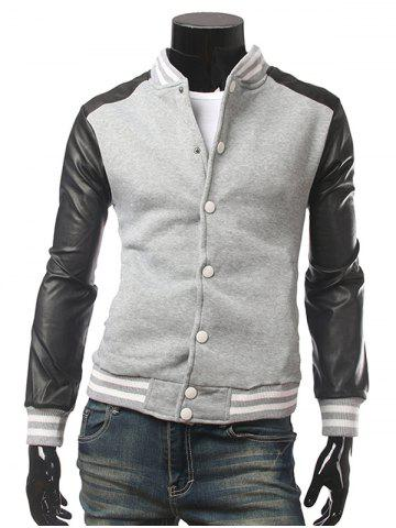 Striped Rib Trim Snap Front Faux Leather Insert Jacket - Gray - M