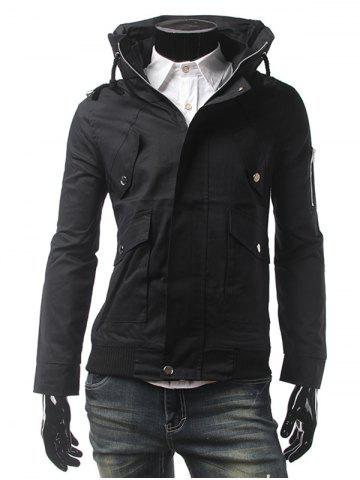 Zippered Multi Pocket Rib Hem Jacket