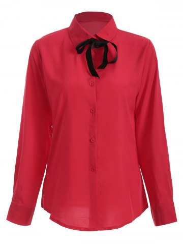 Unique Shirt Neck Bowknot Loose Shirt RED L