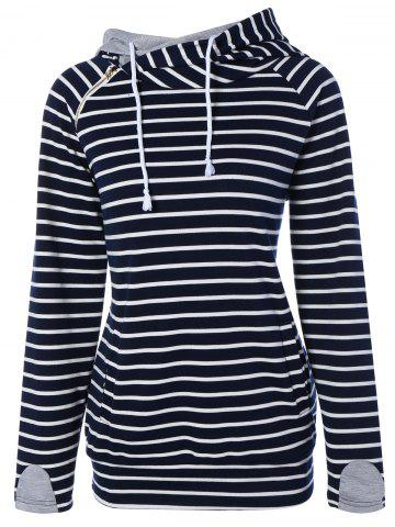 Shops Zipper Drawstring Striped Neck Hoodie PURPLISH BLUE XL