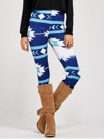 Fancy Stretchy Patterned Leggings - XL BLUE Mobile