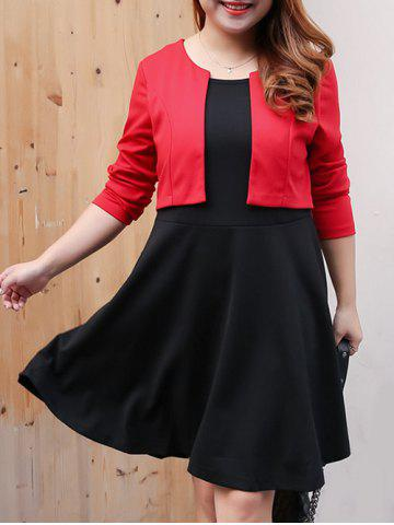 Cheap Plus Size Color Block Overlay Swing Dress