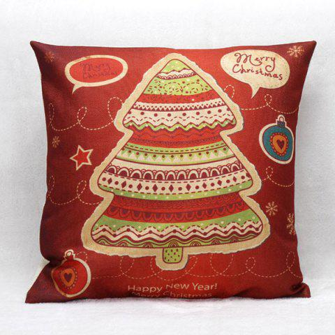 Home Decoration Christmas Tree Linen Cushion Pillow Case - Red