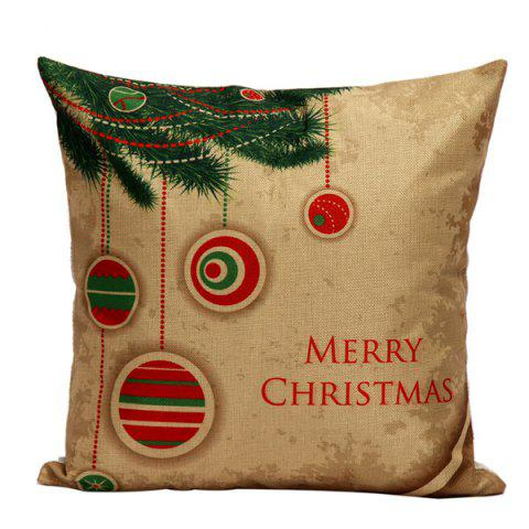 Christmas Tree Hanger  Cushion Linen Throw Pillow Cover - LIGHT BROWN