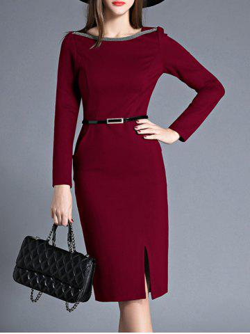 Knee Length Belted Slit Sheath Dress