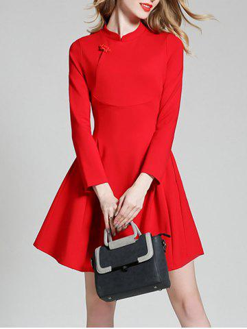 Trendy Long Sleeve Mini Qipao Skater Dress