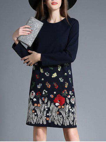 Casual Long Sleeve Embroidered Dress