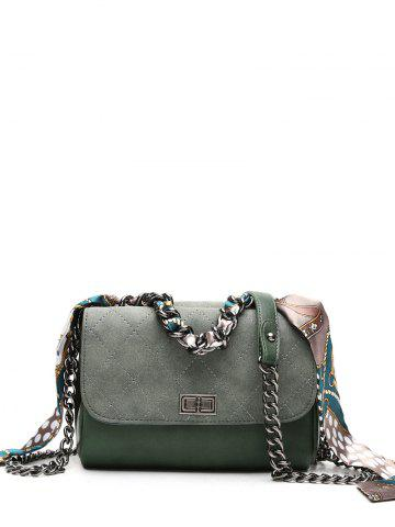 Chain Quilted Argyle Pattern Crossbody Bag - Blackish Green - One Size