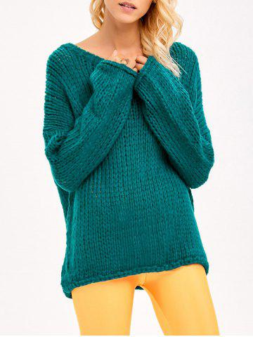 Sale Drop Shoulder Chunky Sweater GREEN ONE SIZE