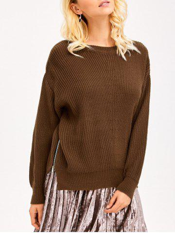 Latest Zip Side Chunky Sweater BROWN ONE SIZE