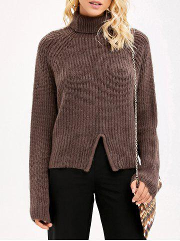 Online Front Slit Sweater COFFEE ONE SIZE