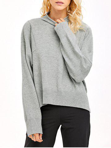 Unique High Neck High Low Hem Knitwear LIGHT GRAY ONE SIZE