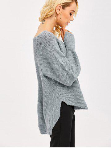 Store Slit Cuff High Low Sweater GRAY ONE SIZE(FIT SIZE XS TO M)