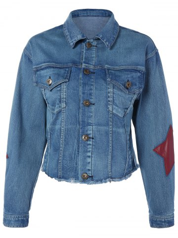 Best Pocket Star Appliques Denim Jacket