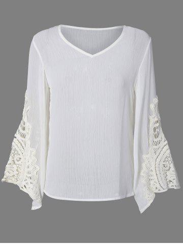 Buy Flare Sleeve Lace Insert Hollow Out Blouse WHITE 2XL