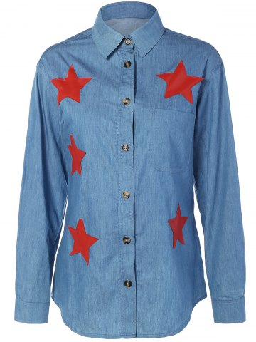 Store Star Appliques Pocket Denim Shirt