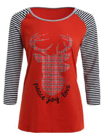 Raglan Sleeves Elk Print Striped T Shirt - Red - S