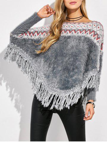 Outfits Jacquard Tassels Knit Batwing Sweater MULTICOLOR ONE SIZE