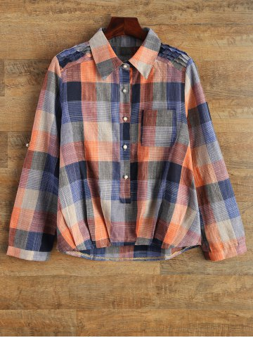 Outfit Shirt Neck Checked Pocket Shirt PLAID 2XL