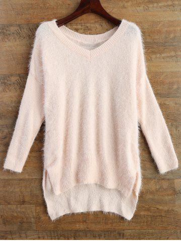 Fancy Long V Neck Fluffy Basic Sweater