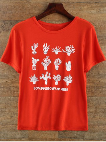 Outfit Round Neck Plant Print T Shirt RED 2XL