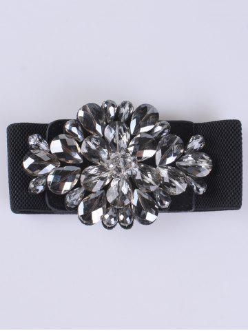 Fashion Faux Crystal Elastic Extra Wide Belt BLACK