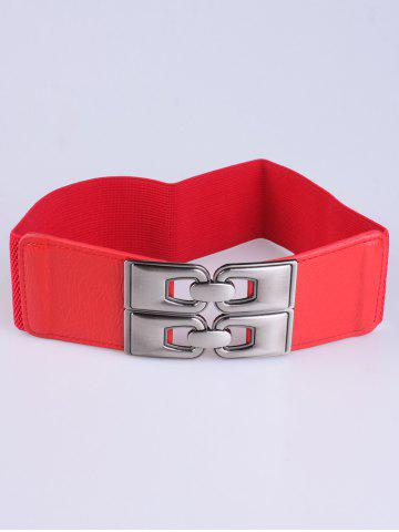 Chic PU Alloy Double Buckle Elastic Wide Belt