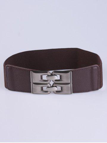 Buy PU Alloy Double Buckle Elastic Wide Belt - COFFEE  Mobile