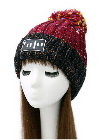 Pom Ball Stripy Flanging Knitted Beanie - Red