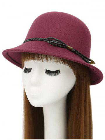 Discount Winter PU Rope Arrow Dome Hat WINE RED