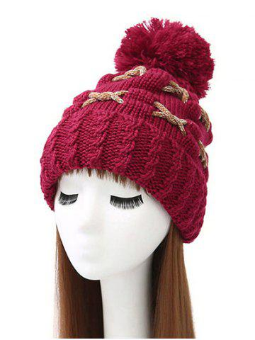Chic Criss Cross Flanging Pom Ball Knitted Beanie WINE RED