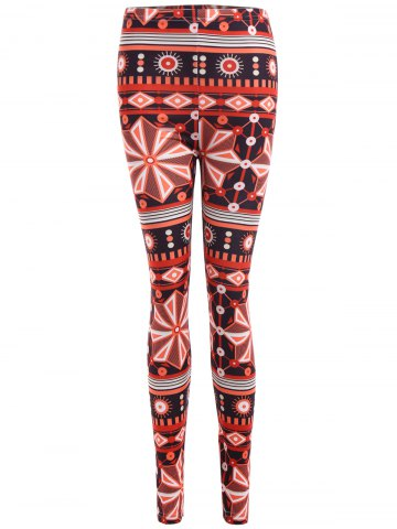 Cheap Ornate Geometric Print Stretchy Leggings