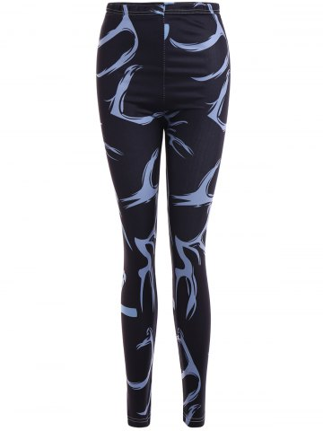 Printed Stretchy Slimming Leggings - Black - L