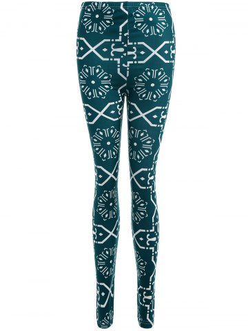 Fancy Geometric Print Slimming Leggings BLACKISH GREEN XL