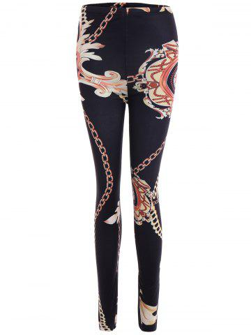Chain Print Stretchy Slimming Leggings - Black - Xl