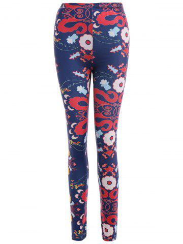 Shop Abstract Floral Print Stretchy Leggings CADETBLUE XL