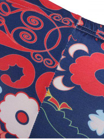 New Abstract Floral Print Stretchy Leggings - M CADETBLUE Mobile